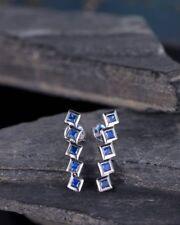 1ct Princess Cut Blue Sapphire Straight Drop Earrings Women 14k White Gold Over