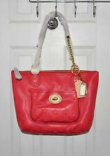 Coach Bag Poppy Eyelet Small Tote Leather Chain Shoulder Watermelon 23842