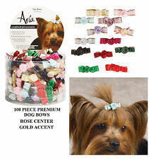 100pc Premium ROSETTE Gold Accent SATIN RIBBON BOWS w/Band DOG Grooming Flower