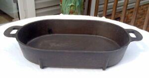 RARE Columbus Iron Works Cast Iron Footed ROASTING PAN/ROASTER Fish Fryer C-S-7