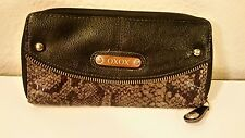 XOXO Black W/ Gray Snake Skin Zip Around Wallet
