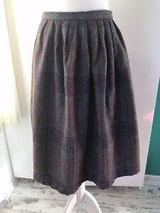 Vtg Winter Skirt Wool Purple Green Check Knee Length Pleated 14 Would Fit 10-12