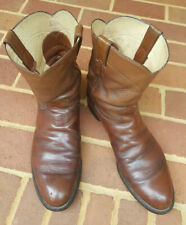 """Justin Mens Cowboy Boots Size 13 B Brown 10"""" Tall Leather Style 3003 Made in USA"""