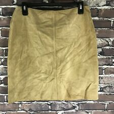 J Crew Womans Tan Taupe Leather Skirt Size 6 Lined Hippie Rodeo Festival Boho