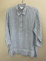 J. Jill Love Linen White Blue Striped Button Down Linen Tunic Top Medium Blouse