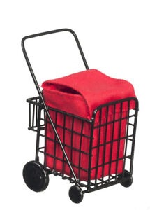 Dollhouse Miniature - Black Metal Grocery Cart with Red Fabric Bag - 1:12 Scale