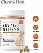 Chew + Heal Calming Dog Anxiety Supplements - 60 Soft Chews - Stress Relief