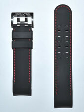 Original Hamilton Khaki X-Wind 22mm Black Rubber Band Strap for Watch H77646833