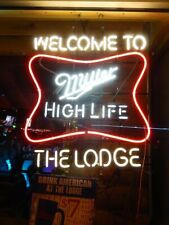 "Miller High Life Welcome To The Lodge Neon Light Sign 24""x20"" Beer Decor Lamp"