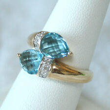 14k Yellow Gold Stamped Pear Checkerboard Blue Topaz Wrap Ring Sz 8 NIB