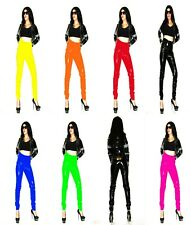 RED BLACK BLUE HIGH WAIST PVC TROUSERS SIZE 18-22 UK New With Tags