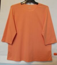 CJ Banks Plus Size 1X Orange knit top, satin trim,3/4 sleeves, cotton NWT