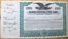 Stock certificate Olson Construction., New York State