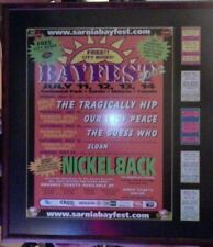 """TRAGICALLY HIP, GUESS WHO, NICKELBACK FRAMED CONCERT AD POSTER 24"""" x 27"""" w/STUBS"""