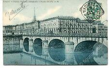 1905 Torino Piazza Vittorio EManuele e ponte sul Po tram  FP B/N VG ANIM