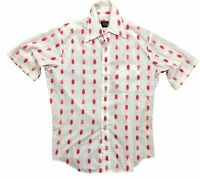 """Vintage Mens Shirt 15 1/2"""" White Red JC Penney White Red Bowling Short Sleeve"""