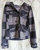 Hurley Size Small Gray Jacket Hooded Plaid 100% Cotton Pocketed Long Sleeve Top