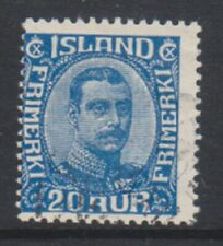 Iceland - 1920, 20a Blue King Christian X stamp - Used - SG 124 (b)