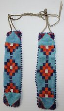 Pair of Vintage Native American Seed Bead Leather & Glass Beaded Strips NICE!