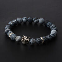 8MM Mens Spot Natural Lava Stone Gold Silver Owl Beaded Charm Bracelets 2017 New
