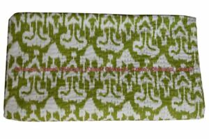 Indian ikat kantha quilt traditional cotton bedding bedspread blanket twin size