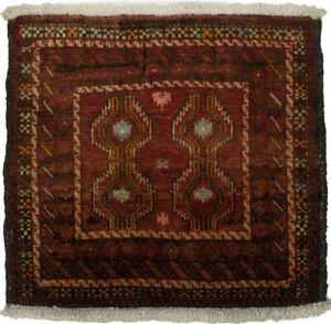 Semi Antique Brick Red Tribal 2X2 Oriental Square Rug Farmhouse Decor Carpet