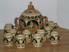 Large German Castle Punch Bowl W 12 Cups Gerz Rhine Cider Beer Tureen