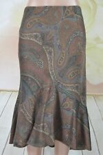 Ralph Lauren Long Skirt Lined High Lo Brown Paisley 100% Silk Size 10P