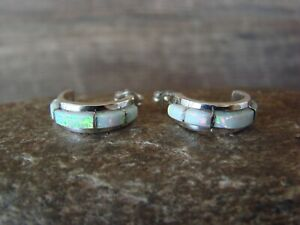 Native American Jewelry Sterling Silver Opal Hoop Earrings! Zuni Indian