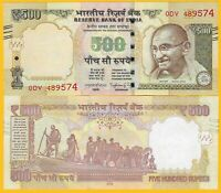India 500 Rupees p-106 2016	Letter E UNC Banknotes