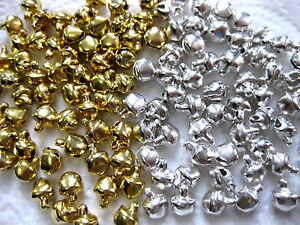 50 kleine Glöckchen silber und gold ca.10 x 13mm  A20