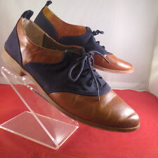RESTRICTED  Blue & Brown 2-Tone Brogue Oxford Saddle Shoes Lace Flats Womens 10