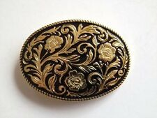 Belt Buckle - Golden Western Flower Design on Black Enamel Background