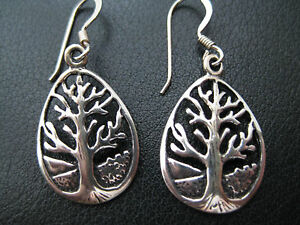 Tree of Life 925'Er Silver Earrings +Gift Box et Nox Earrings Pairs / Or 007