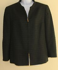 Louis Feraud Elegant Forest Green Wool Boucle Zip-Up Blazer Jacket Sz 14 44 MINT