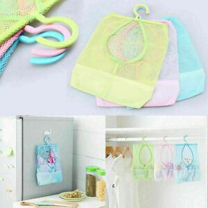 Hanging Mesh Storage Bag Shower Organizer Bathroom Caddy Brush Hanger UK