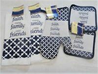 5 Piece Faith, Family, Friends Kitchen Decor Potholders, Oven mitt, Towels set