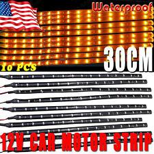 10x 12V 15-LED 30CM Yellow SMD Waterproof Car Motor Flexible Light Strip Bar