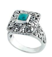 Artisan Crafted 925 Sterling Silver Turquoise Ring from Bali Indonesia Size 7