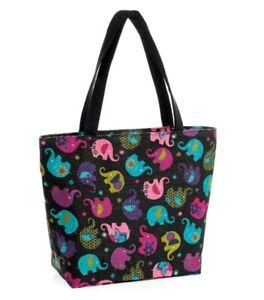 Womens Black Tote Shopper Bag with Elephants