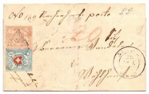 SWITERZLAND 1853 ENTIRE LETTER USED 5r. & 15R.