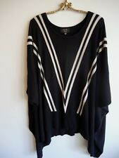 Awesome  Black & Cream Oversized Batwing Poncho Style Top with Draped Hem