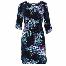 NEW WHITE STUFF BLACK FLORAL BELTED KNEE LENGTH DRESS SIZES 8