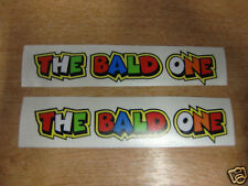 """Valentino Rossi style text - """"THE BALD ONE""""  x2 stickers / decals  - 5in x 1in"""