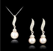 BRIDEMAID GIFT MADE WITH  SWAROVSKI PEARL EARRINGS  NECKLACE SET ROSE GOLD COLOR
