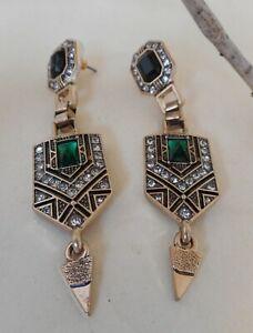 New Green gold crystal drop earrings Art deco