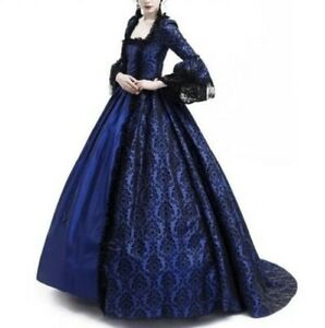Womens Medieval Dress Ball Gown Retro Cosplay Princess Costume Party Long Size L