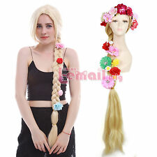 USA Ship Tangled Rapunzel Princess Blonde Long Straight Hair Party Cosplay Wigs