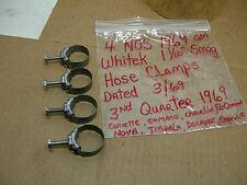 """4 NOS 1969 GM WHITEK 1 1/16"""" SMOG HOSE CLAMPS DATED 3/69 CORVETTE CAMARO NCRS"""