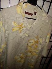 """TORI RICHARD ™Men's 100% Silk Yellow Floral Hawaiian Camp Shirt L 24.5"""" P2P EUC"""